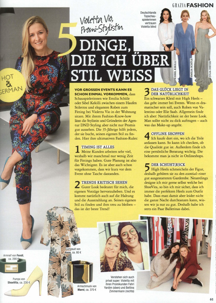 From Grazia, Vol. 29, June 9, 2015 , p. 65.